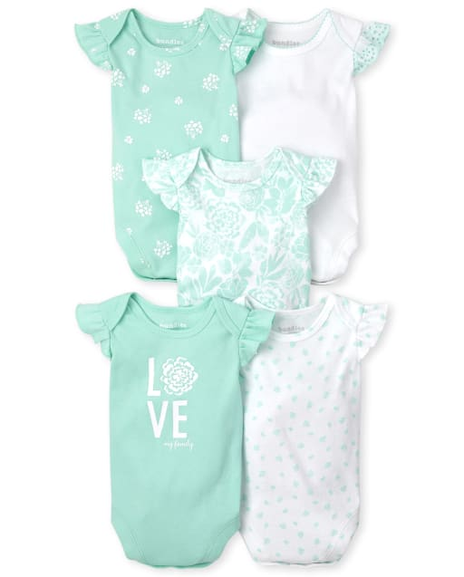 Baby Girls Short Ruffle Sleeve Eyelet Floral Bodysuit 5-Pack