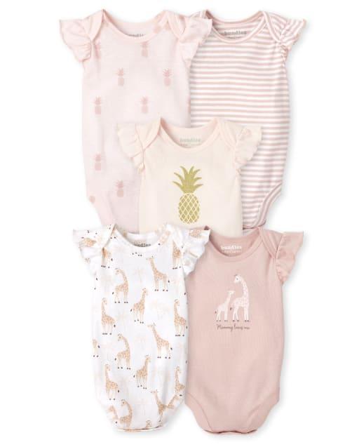 Baby Girls Short Ruffle Sleeve Pineapple And Giraffe Bodysuit 5-Pack