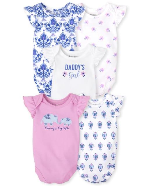 Baby Girls Short Ruffle Sleeve Family Bodysuit 5-Pack