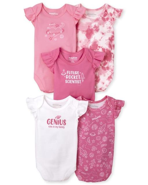 Baby Girls Short Ruffle Sleeve Genius Bodysuit 5-Pack