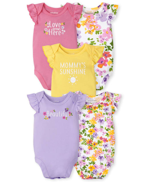 Baby Girls Short Ruffle Sleeve Floral Bodysuit 5-Pack