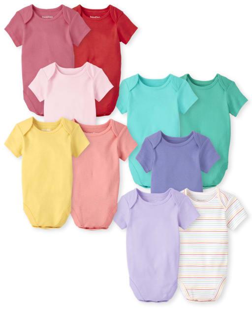 Baby Girls Short Sleeve Rainbow Bodysuit 10-Pack