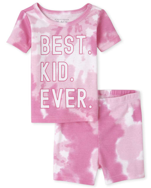 Bebé y niñas pequeñas a juego con la familia de manga corta ' mejor niño de todos los tiempos ' Pijama de algodón con ajuste ceñido con efecto tie dye