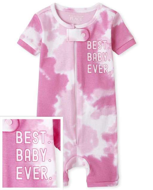 Pijamas de una pieza recortados de algodón con ajuste ceñido y manga corta a juego para bebés y niñas pequeñas