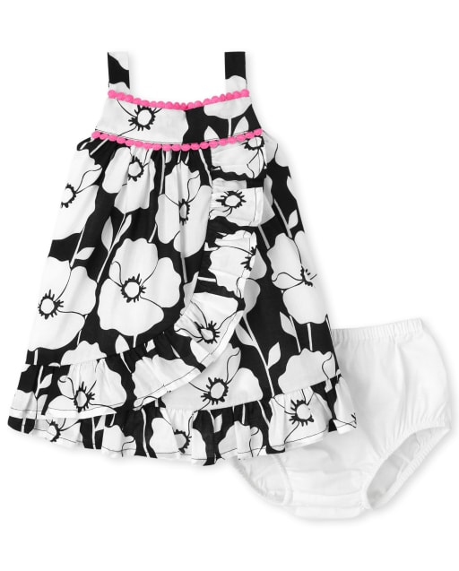 Baby Girls Sleeveless Floral Print Woven Ruffle Dress And Bloomers Set