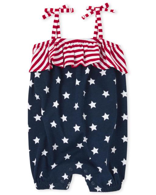 Baby Girls Americana Sleeveless Star Print Knit Romper