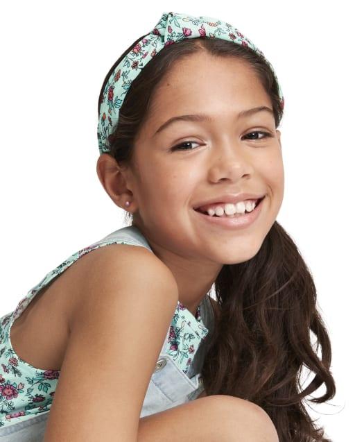 Diadema con turbante floral para niñas