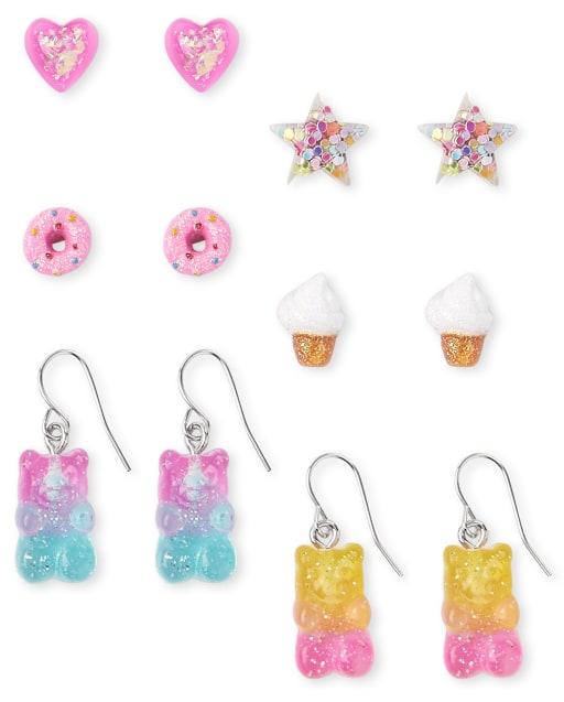 Paquete de 6 pendientes dulces para niñas