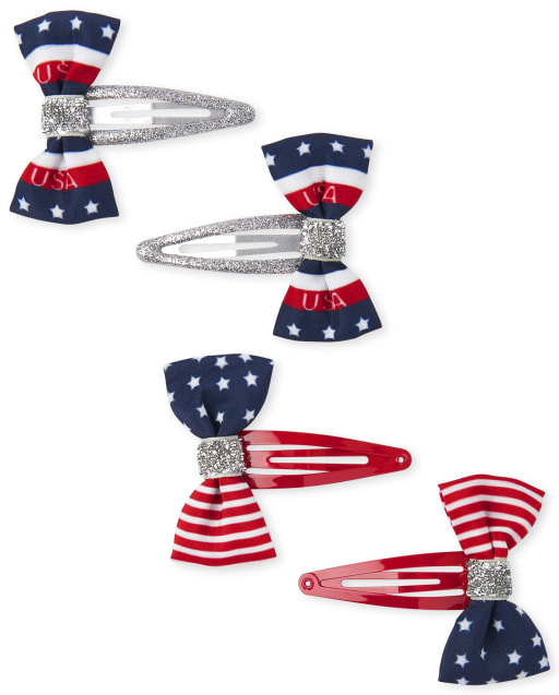 Paquete de 4 pinzas para el pelo con lazo americana para niñas