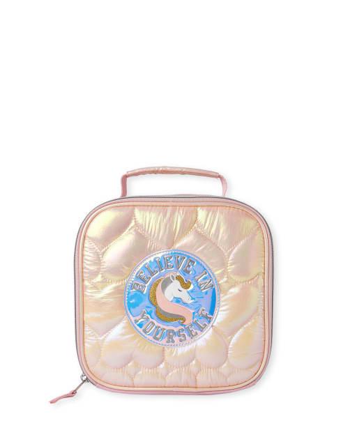 Fiambrera acolchada de unicornio con corazón para niñas