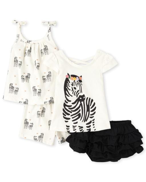 Baby Girls Sleeveless Zebra Print Top Short Sleeve Zebra Graphic Top Zebra Print Knit Shorts And Knit Ruffle Bloomers 4-Piece Playwear Set