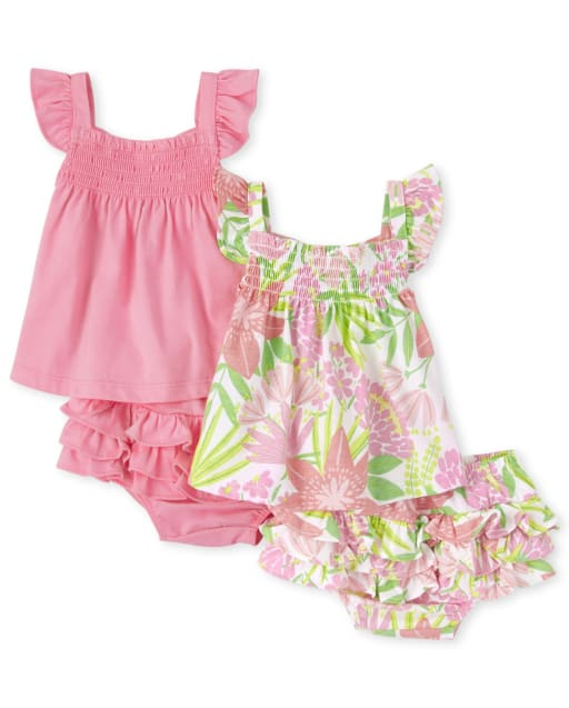 Baby Girls Sleeveless Tropical Print Top Solid Top And Riffle Bloomers 4-Piece Playwear Set