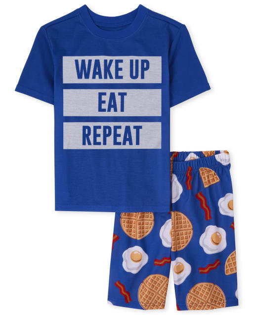 Pijama de manga corta para niños ' Wake Up Eat Repeat '
