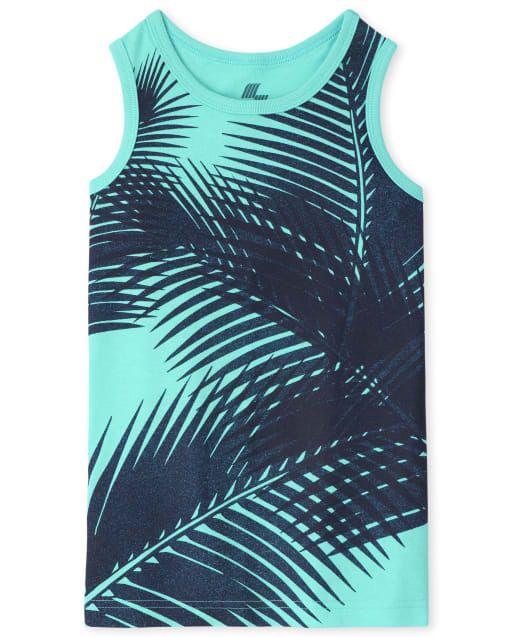 Boys Mix And Match Sleeveless Palm Leaf Tank Top