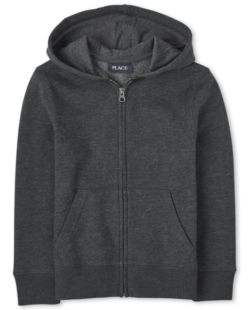 Boys Uniform Long Sleeve Fleece Zip Up Hoodie