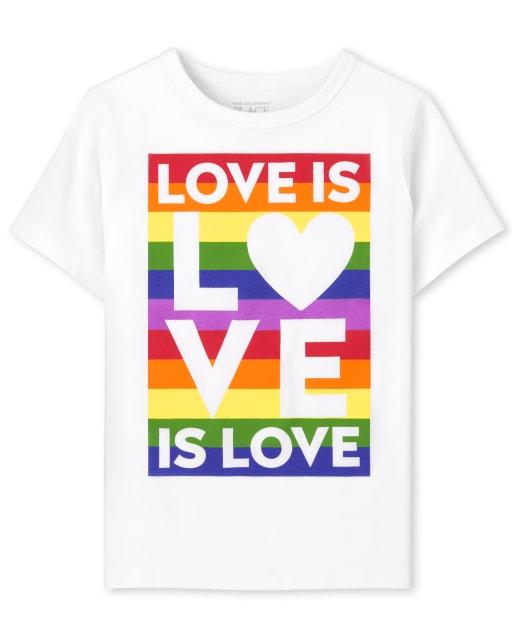 Camiseta unisex de manga corta con estampado de familia a juego para bebés y niños pequeños ' Love Is Love ' Pride