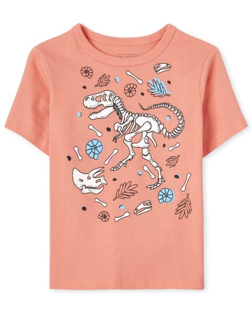 Camiseta con gráfico de dinosaurio de manga corta para bebés y niños pequeños