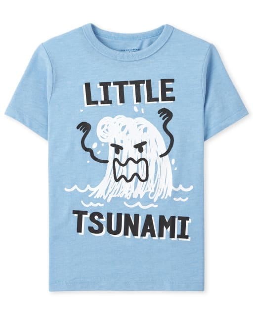 Baby And Toddler Boys Short Sleeve Tsunami Graphic Tee