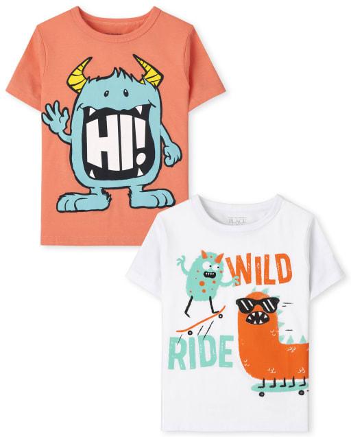 Paquete de 2 camisetas con gráfico de monstruo de manga corta para niños pequeños