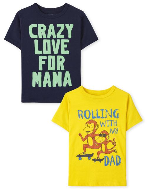 Paquete de 2 camisetas con estampado familiar de manga corta para niños pequeños