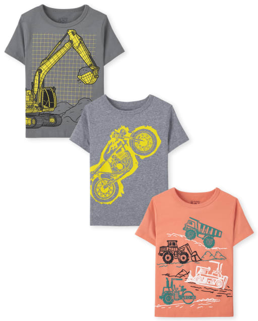 Pack de 3 camisetas estampadas de construcción de manga corta para niños pequeños