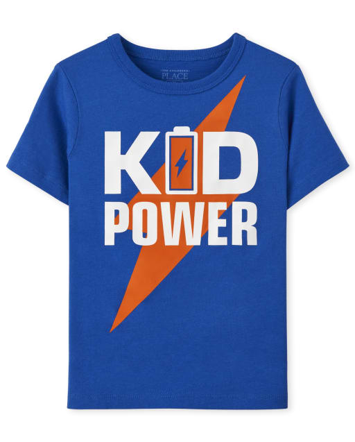 Baby And Toddler Boys Short Sleeve 'Kid Power' Graphic Tee