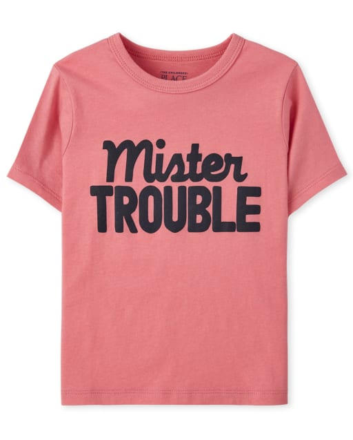 Baby And Toddler Boys Short Sleeve 'Mister Trouble' Graphic Tee