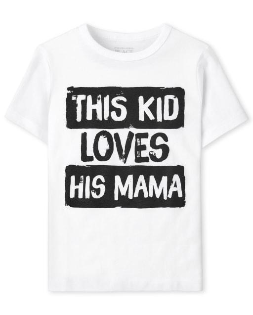 Bebé y niños pequeños de manga corta ' Este niño ama a su mamá ' Camiseta estampada