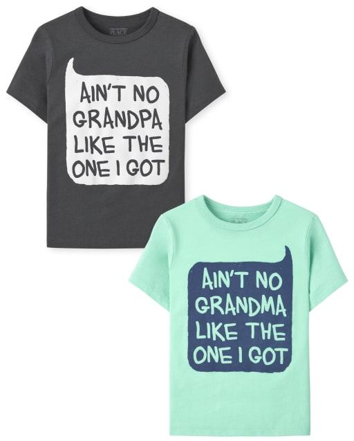 Pack de 2 camisetas estampadas de abuelos de manga corta para niños pequeños
