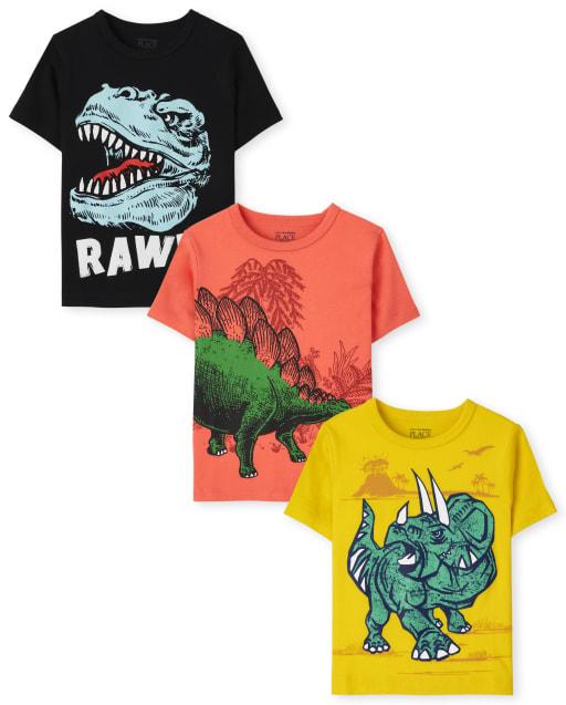 Paquete de 3 camisetas de manga corta con gráfico de dinosaurio para niños pequeños