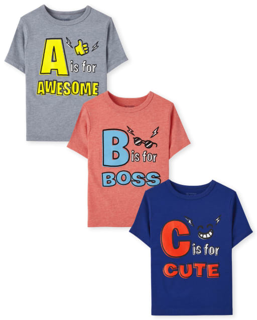 Toddler Boys Short Sleeve ABC Graphic Tee 3-Pack
