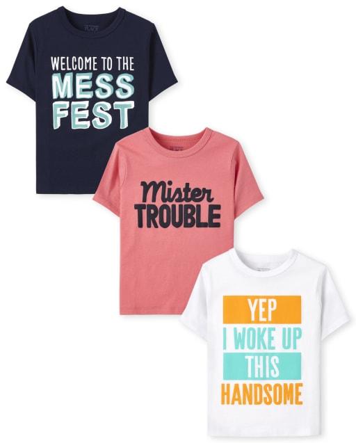 Paquete de 3 camisetas con gráfico Humor de manga corta para niños pequeños