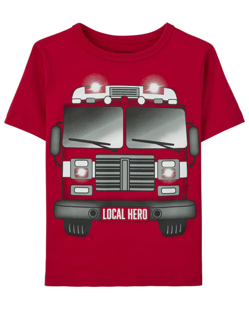 Baby And Toddler Boys Short Sleeve 'Local Hero' Fire Truck Graphic Tee