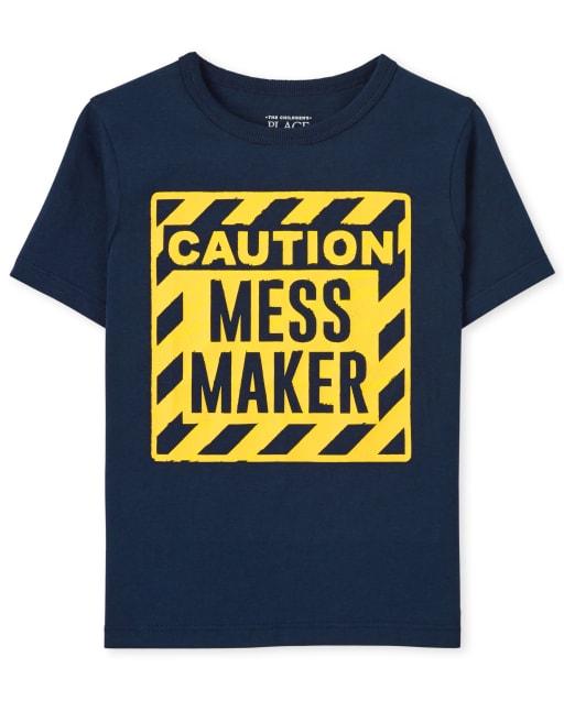 Camiseta estampada de manga corta ' Precaución Mess Maker '