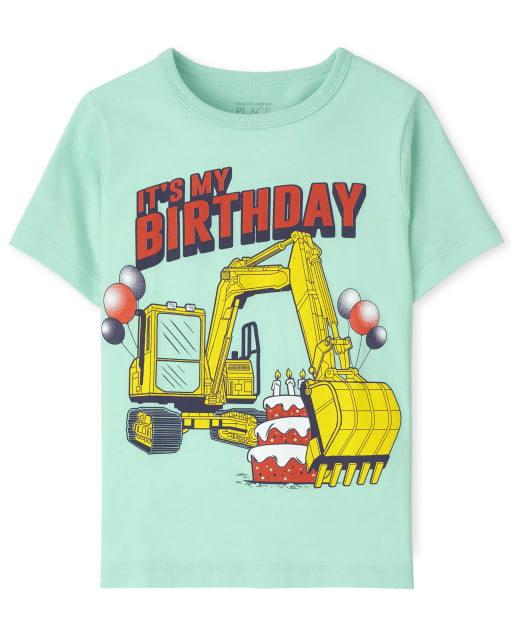 Baby And Toddler Boys Short Sleeve 'It's My Birthday' Construction Truck Graphic Tee