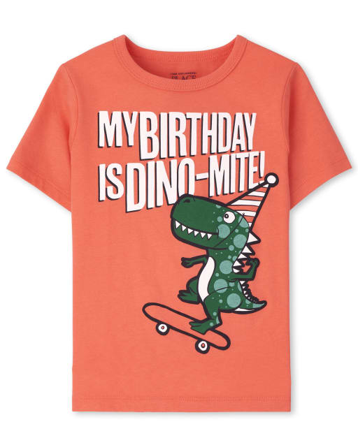 Baby And Toddler Boys Short Sleeve 'My Birthday Is Dino-Mite' Dino Graphic Tee