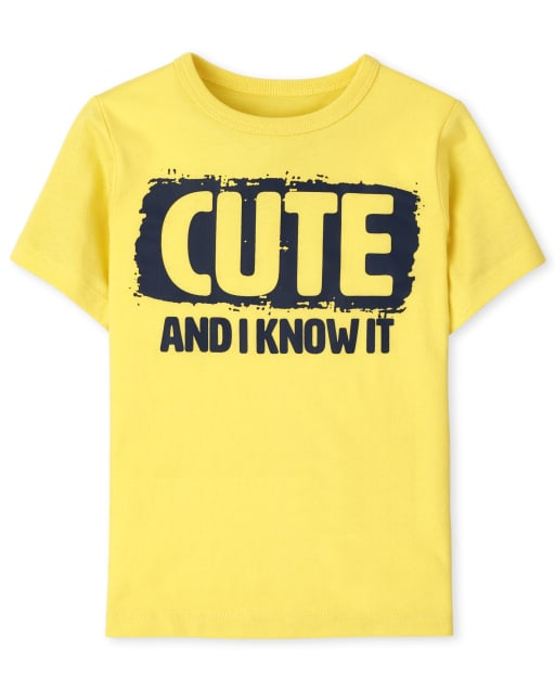 Baby And Toddler Boys Short Sleeve 'Cute And I Know It' Graphic Tee