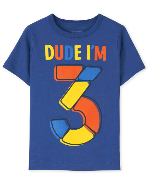 Baby And Toddler Boys Short Sleeve 'Dude I'm 3' Birthday Graphic Tee