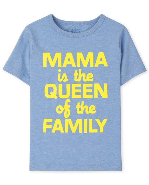Baby And Toddler Boys Short Sleeve 'Mama Is The Queen Of The Family' Graphic Tee