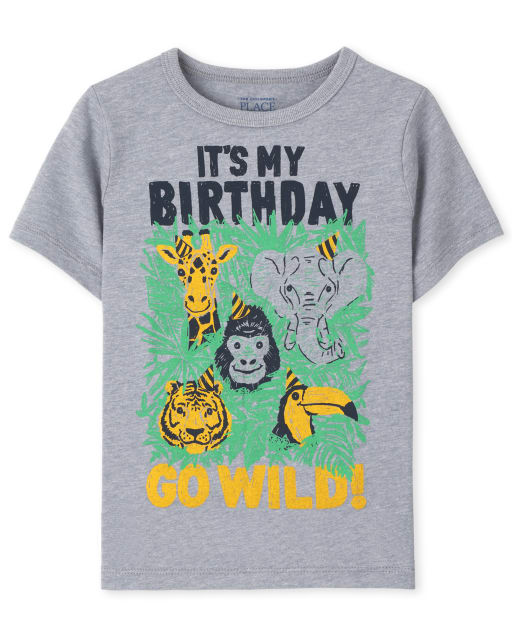 Baby And Toddler Boys Short Sleeve 'It's My Birthday Go Wild' Animal Birthday Graphic Tee