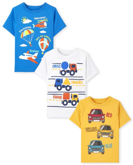 Toddler Boys Short Sleeve Transportation Graphic Tee 3-Pack