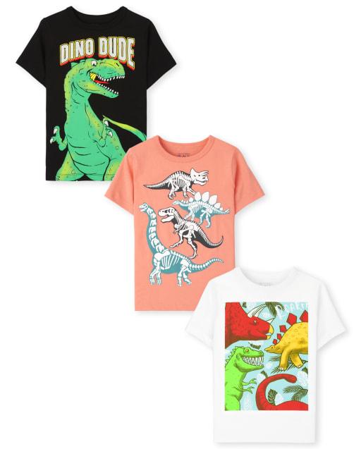 Paquete de 3 camisetas con gráfico Dino para niños pequeños