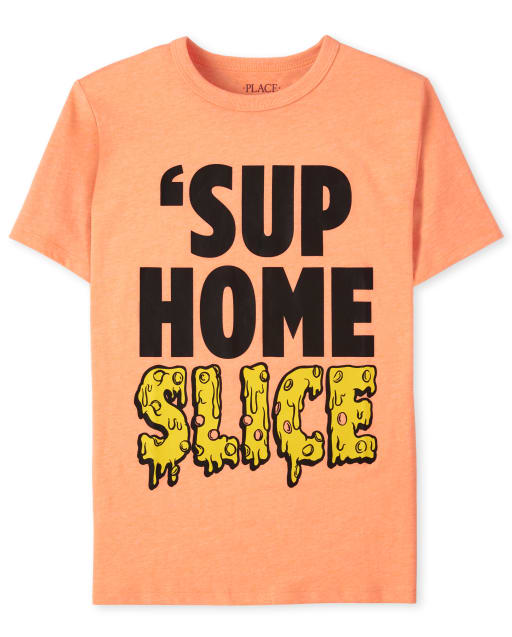 Boys Short Sleeve 'Sup Home Slice' Pizza Graphic Tee
