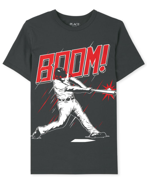 Boys Short Sleeve 'Boom' Baseball Graphic Tee