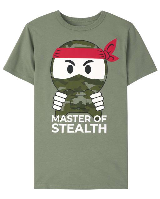 Boys Short Sleeve 'Master Of Stealth' Camo Ninja Graphic Tee