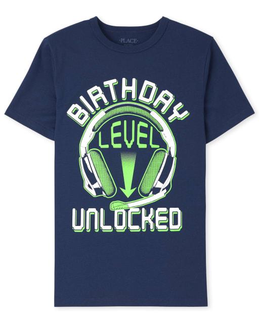 Boys Short Sleeve 'Birthday Level Unlocked' Graphic Tee