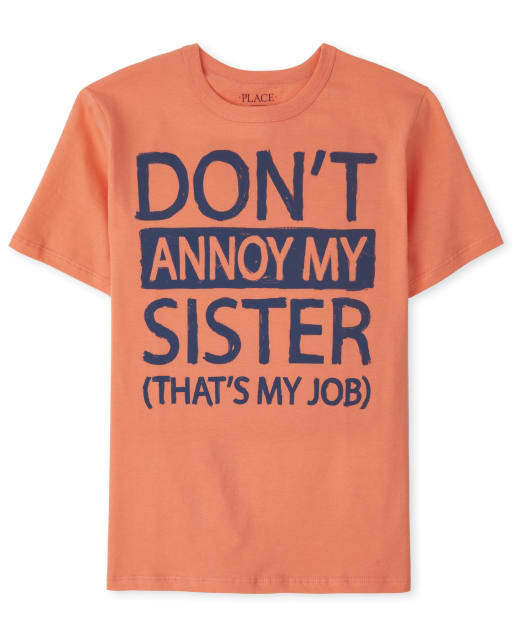 Boys Short Sleeve 'Don't Annoy My Sister That's My Job' Graphic Tee