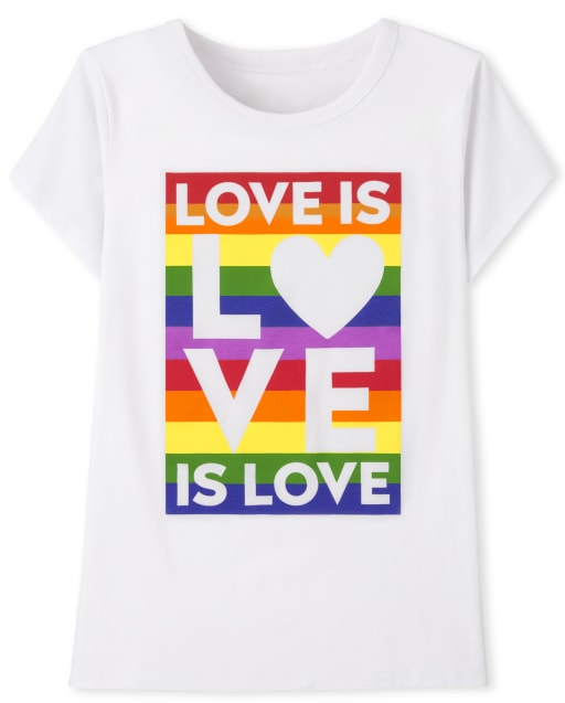 Unisex Kids Matching Family Short Sleeve 'Love Is Love' Pride Graphic Tee