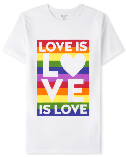 Unisex Adult Matching Family Short Sleeve 'Love Is Love' Pride Graphic Tee