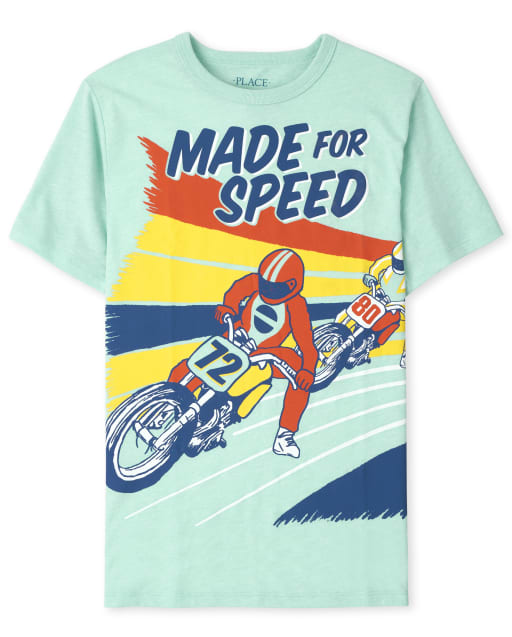 Boys Short Sleeve 'Made For Speed' Motorcycle Graphic Tee